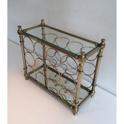 Silver Plated Bottles Holder With Glass Shelves. Italy. Circa 1970