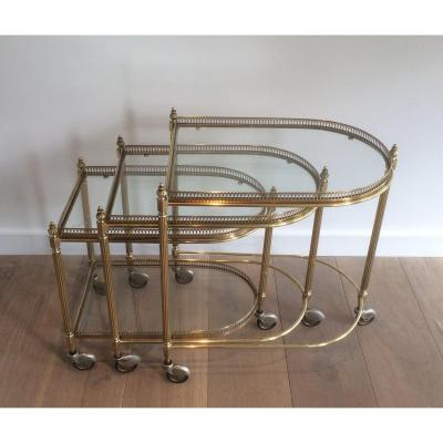Maison Bagués. Set Of 3 Brass Nesting Drinks Trolleys With Removable Trays. French. Circa 1940