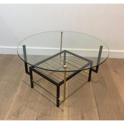 Attributed To Mathieu Matégot. Rare Black Lacquered And Brass Round Coffee Table With Glass Top. French. Circa 1950