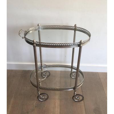 Maison Bagués. Table Roulante De Style Néoclassique En Métal Argenté. Travail Français. 1940's