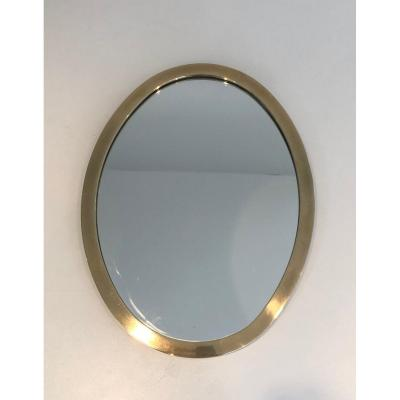 Small Oval Brass Mirror. French. Circa 1970