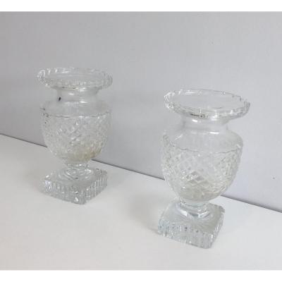 Paire De Vases En Cristal de Style Médicis. Travail Français. Vers 1900