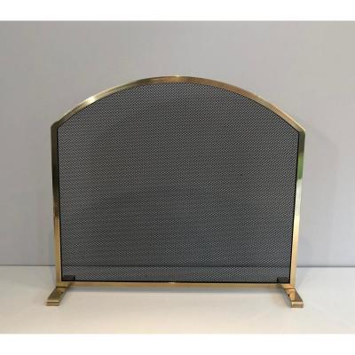 Neoclassical Style Brass Fire Place Screen. French. Circa 1970