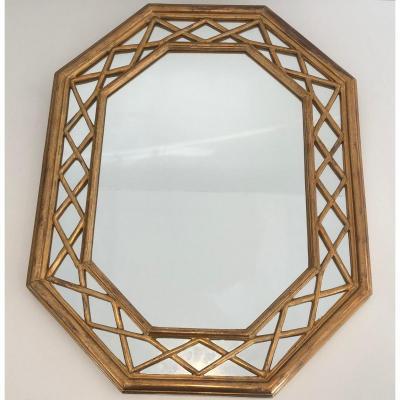 Gilt Wood Octogonal Glazing Mirror. French. Circa 1970