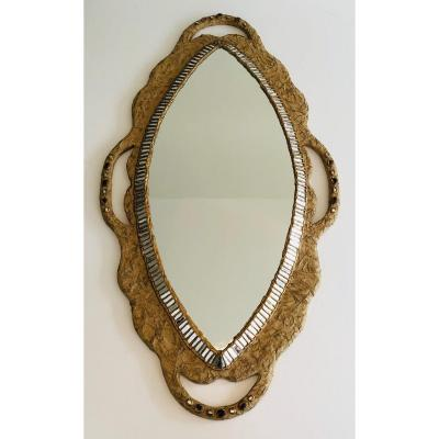 By Catherine David. Unusual Mirror Made Of Paper Mache And Mirror Marquetry And Incrustations.