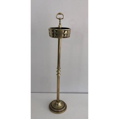 Cendrier En Bronze Et Laiton à Décor De Fleurs De Lys. Travail Français. Vers 1940