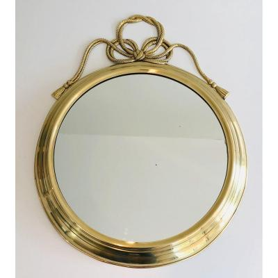 Decorative Oval Brass Mirror With Large Noddles On Top. French. Circa 1970