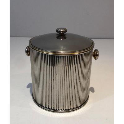 Silver Plated And Plastic Ice Bucket. French. Circa 1970