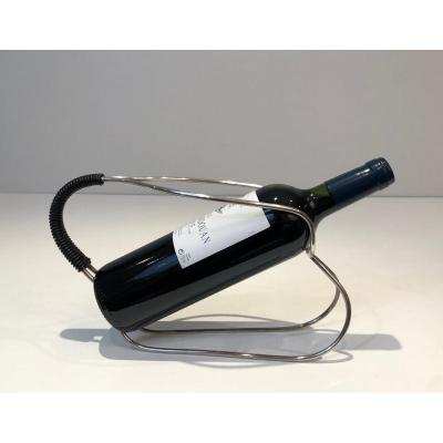 Silver Plated And Black Plastic Bottle Holder. French Work. Circa 1970