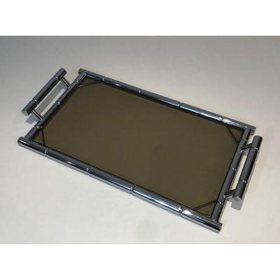 In The Style Of Jacques Adnet. Faux Bamboo Chrome Tray With Smoked Glass. French. Circa 1970