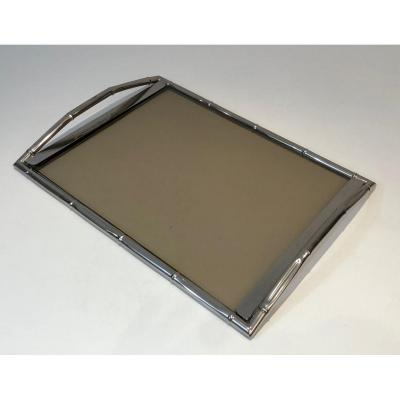 In The Style Of Jacques Adnet. Faux-bamboo Chromed Tray With Smoked Glass. French. Circa 1970