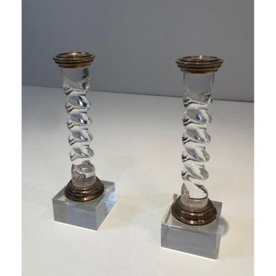 Silver Plated And Lucite Twisted Candlesticks. French. Circa 1970