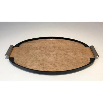 Art Deco Sycamore, Ebonised Wood And Chrome Tray. French. Circa 1930
