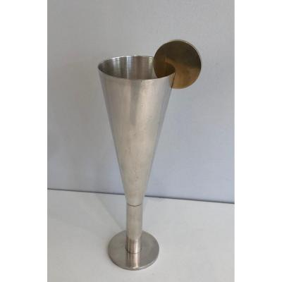 A.pozzi. Silver Plated And Brass Champagne Flute. Italy. Marked Padova A.pozzi. Circa 1950