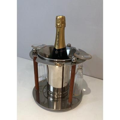 Rare Seau à Champagne Design Et Présentoir à Flûtes En Métal Argenté Et Cuir. Travail Français
