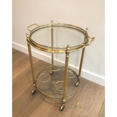 In The Style Of Maison Jansen. Neoclassical Style Round Brass Drinks Trolley. French. 1950's