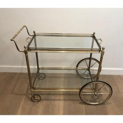 Maison Bagués. Neoclassical Style Silvered Brass Drinks Trolley. French. Circa 1940