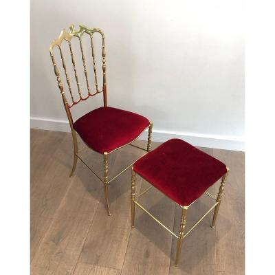Chiavari Brass Chair With Its Stool. French Work. Circa 1970