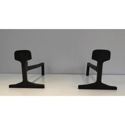 Pair Of Modernist Cast Iron And Iron Andirons. French. Circa 1950