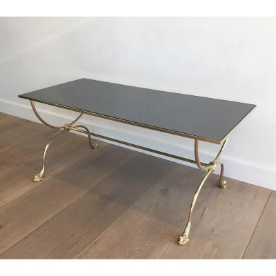 Maison Jansen. Table Basse De Style Néoclassique En Laiton à Décor De Têtes De Dauphins