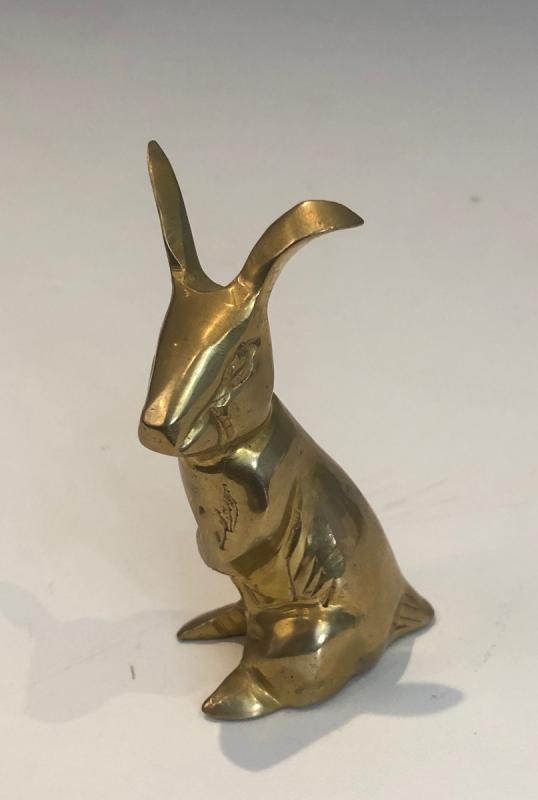 Petite Sculpture En Laiton Représentant Un Lapin. Travail Français. Vers 1970-photo-3
