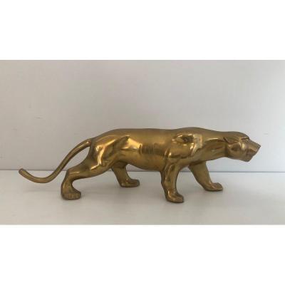 Sculpture En Laiton Représentant Un Tigre. Travail Français. Vers 1970
