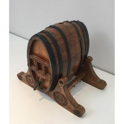 Wine Decanter Presenting A Small Wine Barrel With Brass Tap. French Folk Art. Circa 1900