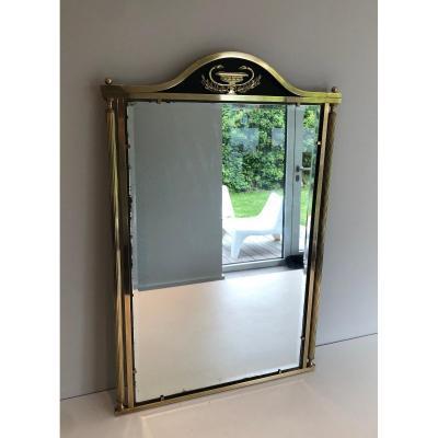 Miroir De Style Néoclassique En Laiton Et Tôle Laquée à Décors De Coupe Et Cols De Cygnes