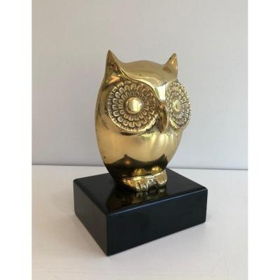 Brass Owl On Black Lacquered Wooden Stand. French. Circa 1970
