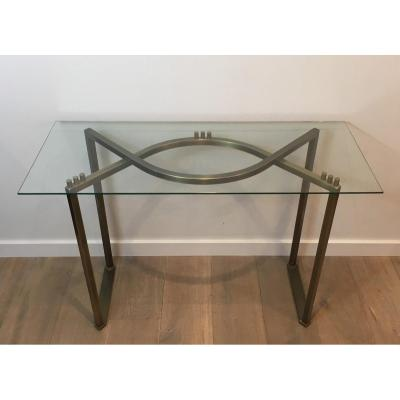 Brushed Steel And Brass Console