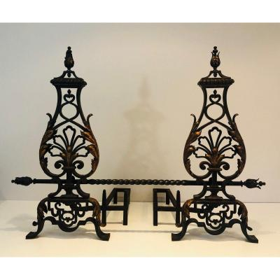 In The Style Of Gilbert Poillerat. Important Pair Of Wrought Iron And Gilt Iron Andirons