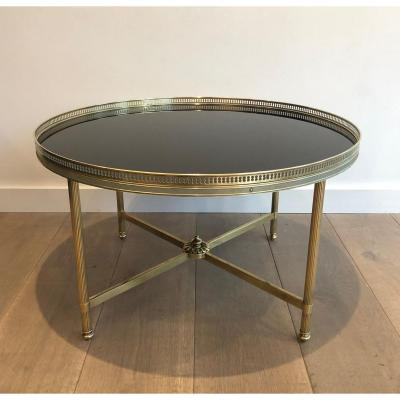 Maison Jansen. Neoclassical Style Brass Coffee Table With Black Lacquered Glass Top. French. Circa 1940