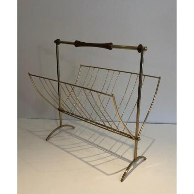 In The Style Of Cesare Lacca. Brass And Wood Magazine Rack