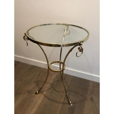 In The Style Of Maison Jansen. Neoclassical Style Brass Gueridon With Round Glass Shelf On Top