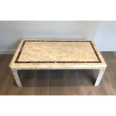Table Basse Constituée De Plaquettes De Marbre Avec Incrustation d'Un Filet De Laiton