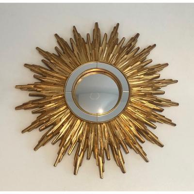 Miroir Soleil En Résine Dorée. Travail Français. Vers 1970