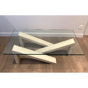 Table Basse Composé d'éléments Géométriques En Marbre Et d'Un Plateau De Verre