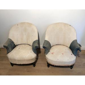 Pair of Napoleon the 3d Armchairs. Need to be rehupholstered. French. Circa 1900
