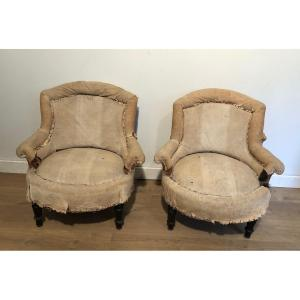 Pair Of Napoleon The 3d Armchairs. Need To Be Re-hupholstered. French. Circa 1900