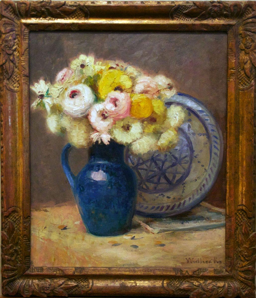 Bouquet Au Vase Bleu Signé Léopold Widliczka XXème Siècle