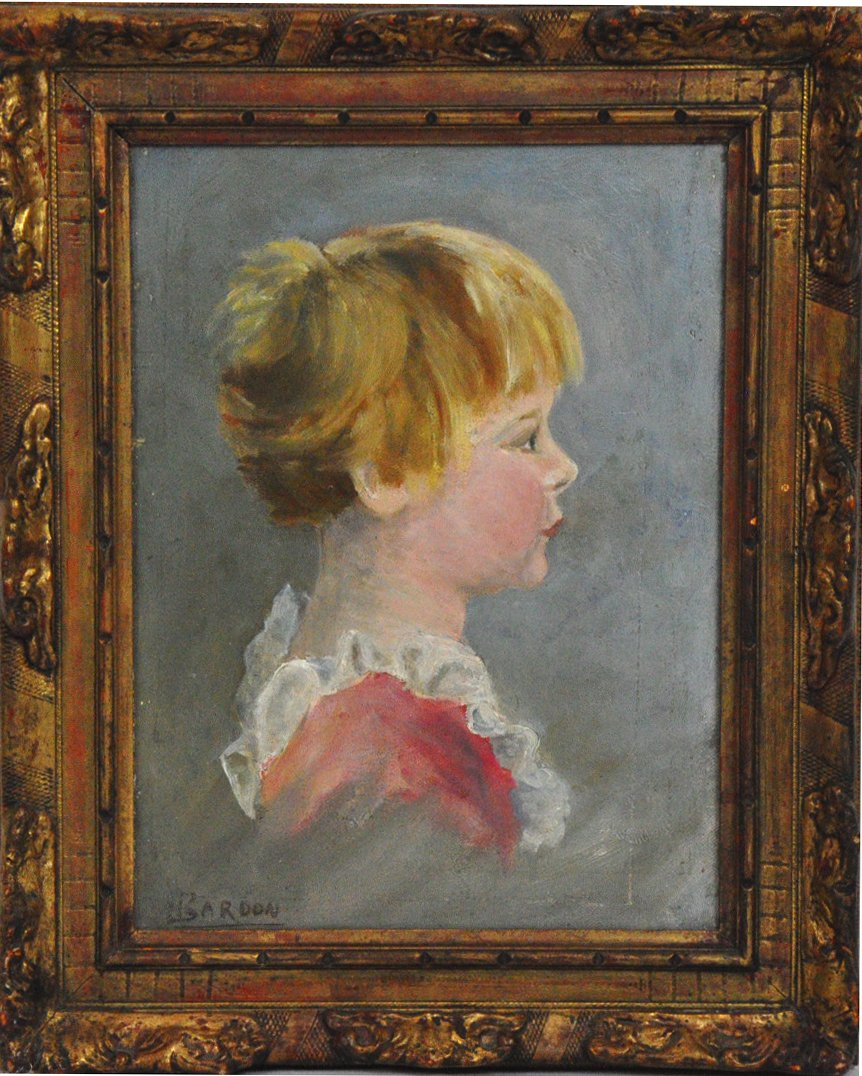 Portrait Of Child, Oil On Canvas Signed Jean Bardon XXth Century