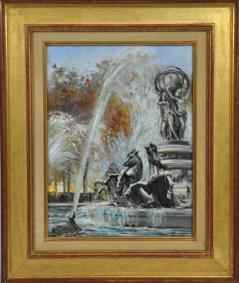 Fontaine De l'Observatoire, Huile Sur Toile Signée Charles Blondin XXème Siècle