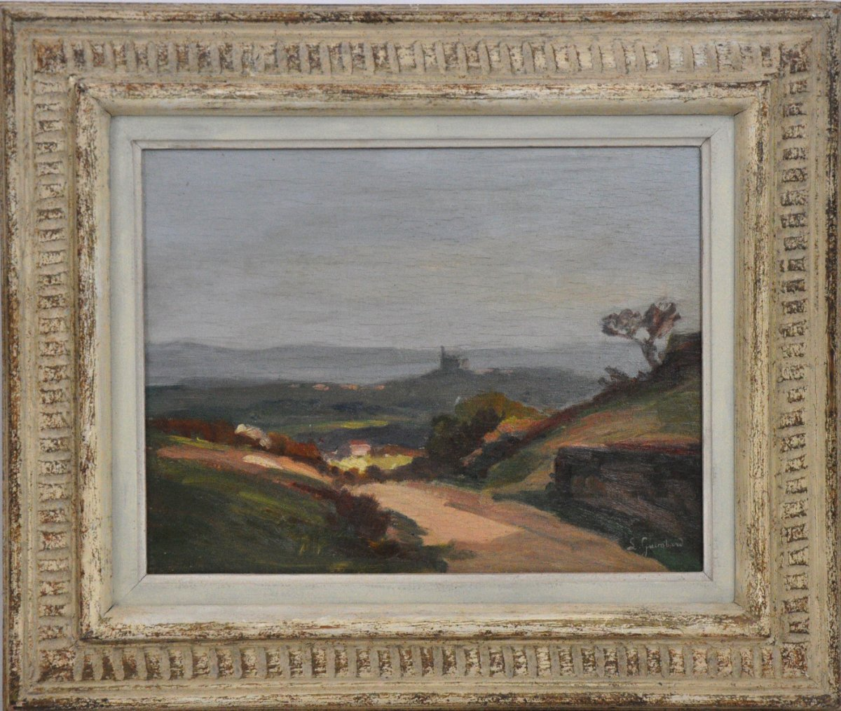 Saint-fortunat, Oil On Wood, Signed Lucienne Guimbard, 20th Century