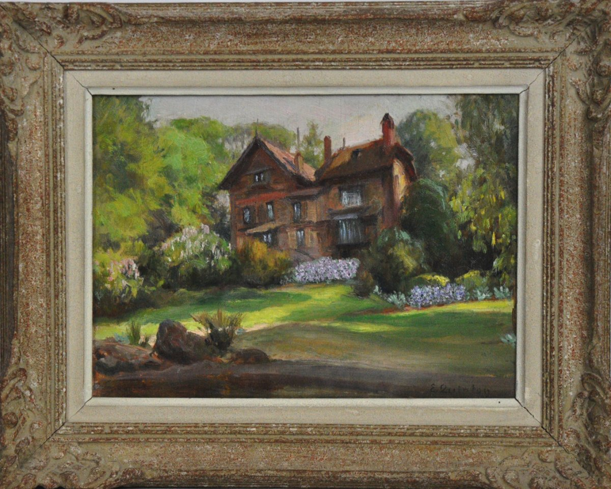 Norman House Oil On Panel Signed Edmond Quinton 20th Century