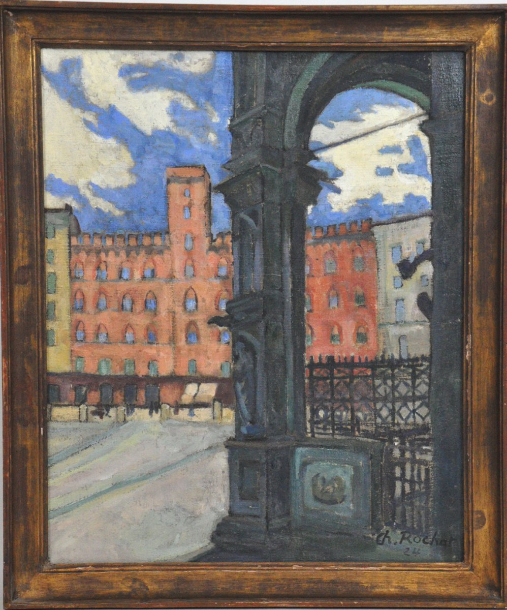 Siena, Piazza Del Campo Oil On Canvas Signed Charly Rochat 20th Century