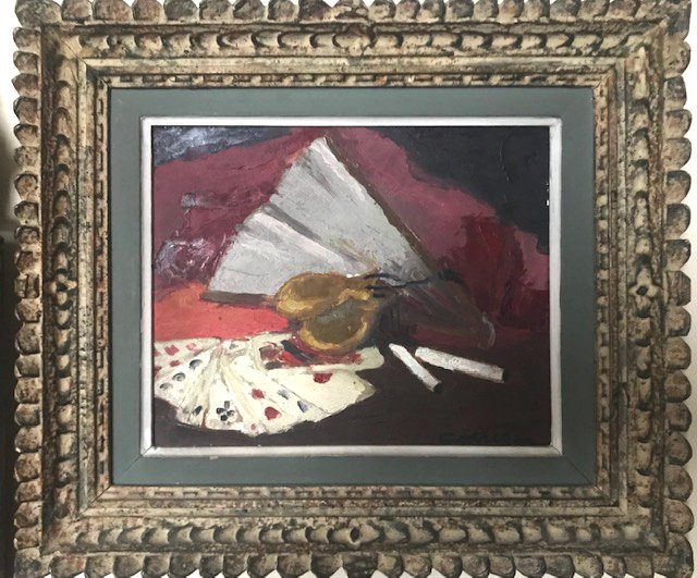 Cards And Castanets, Oil On Isorel, Signed Carréga, 20th Century