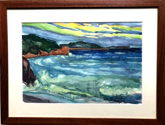 Baie Au Soleil Couchant, Watercolor Signed Leopold Martin Dit Leo 20th Century