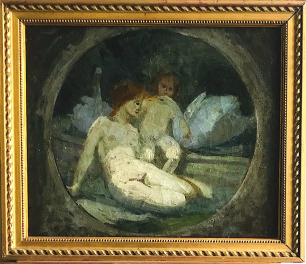 Léda And The Swan Oil On Canvas French School 19th Century
