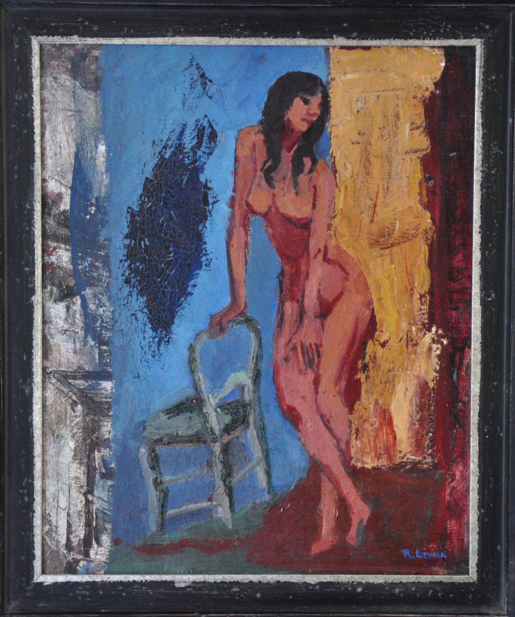 Naked Woman And A Chair  Oil On Canvas Signed R. Lenoir Twentieth Century
