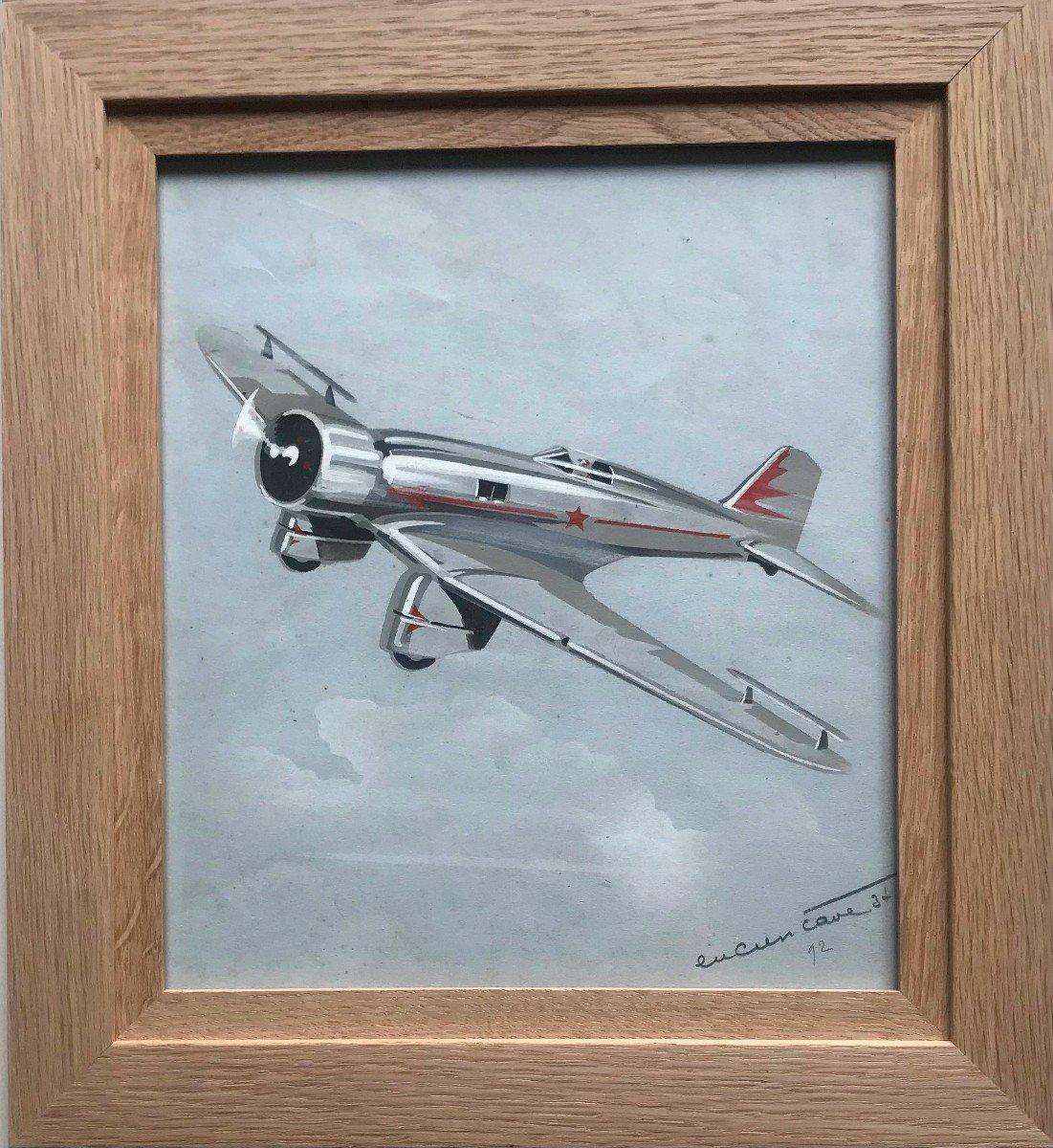 Morane-saulnier In Flight Watercolor On Paper Signed Lucien Cavé XXth Century